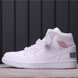 "Air Jordan 1 Mid ""Euro Tour"" CW7589-100 All White Red"