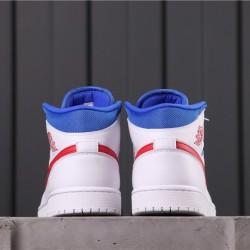 """Air Jordan 1 Mid """"Fearless"""" BQ6472-164 White Red Blue"""