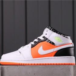 "Air Jordan 1 Mid GS ""Orange"" 554725-870 White Orange Black"