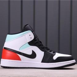 "Air Jordan 1 Mid GS ""Black Toe"" BQ6931-100 White Black Blue Red"