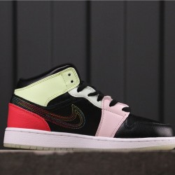 "Air Jordan 1 Mid ""Glow in the dark"" AV5174-076 Black Pink Green"