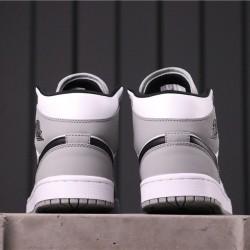 "Air Jordan 1 Mid ""Light Smoke Grey"" 554724-092 Grey White Black"