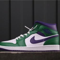 "Air Jordan 1 Mid ""Hulk"" 554724-300 Green White Purple"