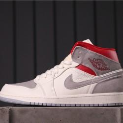 "Sneakersnstuff x Air Jordan 1 Mid ""Light Smoke Grey"" CT3443-100 Grey White Red"