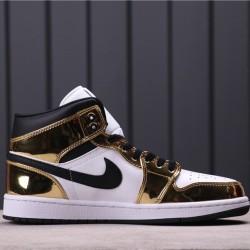 """Air Jordan 1 Mid """"Metallic Gold"""" DC1419-700 Gold White"""