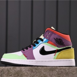 "Air Jordan 1 Mid ""Multicolor"" CW1140-100 White Green Black Purple"