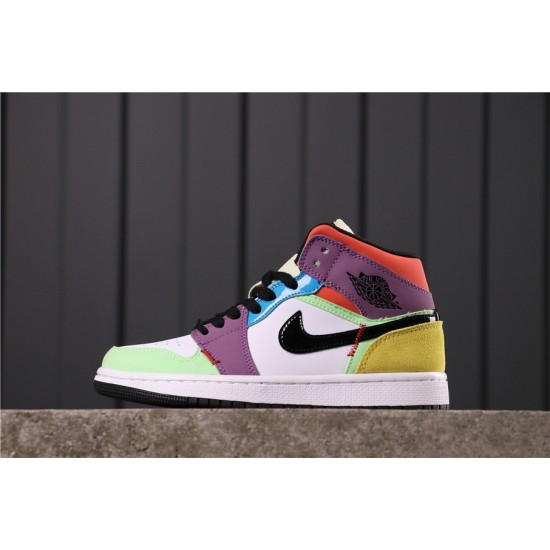 "Air Jordan 1 Mid ""Multicolor"" CW1140-100 White Green Black Purple"