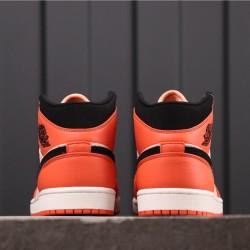 Air Jordan 1 Mid SE BQ6931-800 Orange White Black