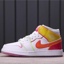"Air Jordan 1 Mid SE ""Edge Glow"" CV4611-100 white Yellow Pink"