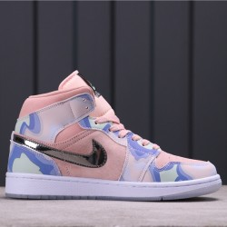 "Air Jordan 1 Mid SE ""Team Fluorescent"" CW6008-600 Pink Blue White"