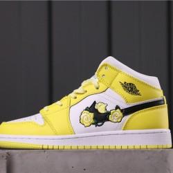 """Air Jordan 1 Mid SE GS """"Rose Patch"""" AV5174-700 Yellow White Black"""