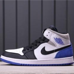 "Air Jordan 1 Mid SE ""Game Royal"" 852542-102 White Black Blue"