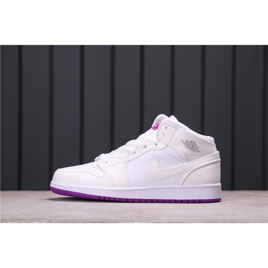 """Air Jordan 1 Mid """"Sanded Purple"""" 555112-ID White Purple"""