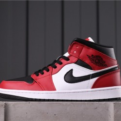 """Air Jordan 1 Mid """"Chicago Black Toe"""" 554724-069 Red Black White"""