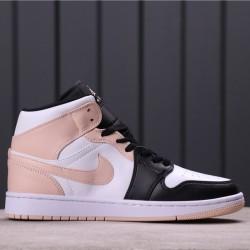 "Air Jordan 1 Mid ""Crimson Tint"" 554724-133 Pink White Black"