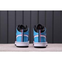 "Women Air Jordan 1 Mid ""Game Time"" CV4891-001 Black Blue White"
