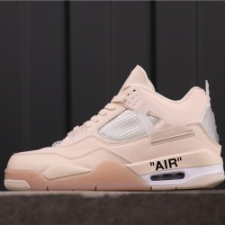 "OFF-WHITE x Air Jordan 4 ""Sail"" SP AQ9129-002 Pink White"