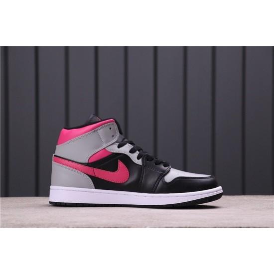 """Air Jordan 1 Mid """"Pink Shadow"""" 554724-059 Black Grey Pink"""