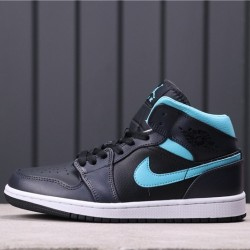 "Air Jordan 1 Mid Retro ""Sonics"" 554724-063 Black Blue"
