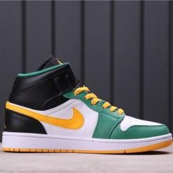 "Air Jordan 1 Mid Retro ""Sonics"" 554724-307 Green Orange White"