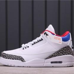 """Air Jordan 3 Retro """"Seoul"""" AV8370-100 White Grey blue"""